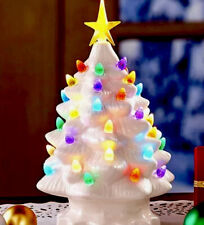 Vintage Inspired Ceramic White Light Up Christmas Tree New 6X10� Table Top Tree