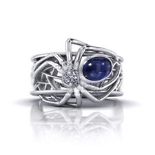 Women Men 925 Silver 1.73Ct Blue Topaz Sapphire Spider Party Rings Gift Size 8