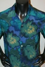 Men's BRIONI Short Sleeve 100% Silk Blue Floral Camp Shirt  Sz S - Made in Italy