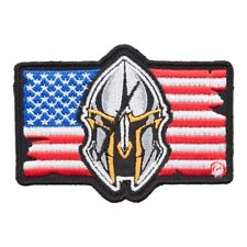 American Flag Spartan Helmet Patch, Malone Labe Patches