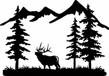 6 point bull ELK and MOUNTAIN Scene truck / car window Decal bow hunt antler