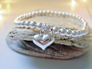 Sterling Silver Bead Bracelet, UK Handmade Stretch Beaded Heart Charm Bracelet