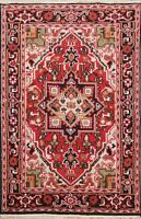 Traditional Geometric Oriental Red Area Rug Hand-Knotted Wool Carpet 4x6 Foyer