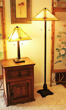 "Tiffany Style Mission Table and Floor Lamp Set 16"" Shade"
