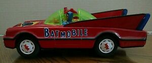 Batmobile Batman and Robin Vintage Red Tin Litho/Battery Operated/Taiwan