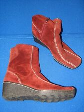 9.5 M Nine West Burgundy Ladies Womens High Heel Wedge Suede Leather Boots Calf