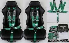 "2 X TANAKA GREEN 5 POINT CAMLOCK RACING SEAT BELT HARNESS 3"" SFI 16.1 CERTIFIED"
