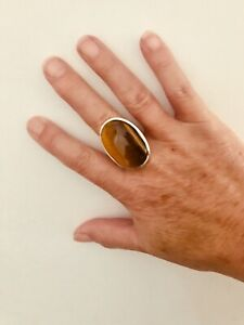 Silver Tiger's Eye Ring Large Brown Gemstone Size 12