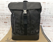 FRED PERRY Backpack Rucksack Black JACQUARD Large CAMO Shoulder Bag BNWT RRP£70