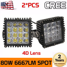 2X 5inch 80W Square CREE LED Spot Work Light Driving offroad Truck Boat 4WD 4D+