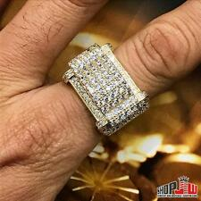 14K Gold Plated Simulated Diamond Mens Ring Size 11 Chunky Hip Hop Style Pinky