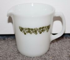 Vintage Pyrex Milk Glass Pitcher Mini Green Flowers Crazy Daisy Creamer Cup Pour