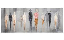 Wanddeko Leinwandbild People handgemalt mit Aluminium Ornamenten 100 x 40 cm