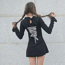 Woman Lace Dress Lolita Long Sleeve Black Silm Embroidery Long sleeve Gothic