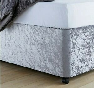 ELASTICATED BED VALANCE DIVAN COVER WRAP CRUSHED VELVET - SILVER - DOUBLE