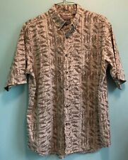 Bimini Bay Hawaiian Shirt Short Sleeve Fish Tan Brown 100% Cotton Mens L