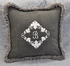 """Personalized Pillow Embroidered on Gray Faux Suede Fabric 16"""" trim brush fringe"""