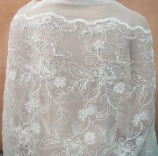 Ivoire Broderie Perlé pour Mariée Costume Tissu Dentelle Robe de DIY Tulle 0.5 Y