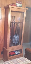 Used Scout Products12-Gun Oak Cabinet With Keyed Doors And 2 Access Compartments