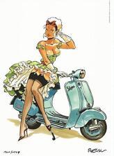 Félix Meynet Double M Mirabelle en scooter Vespa ex libris 149 ex n°/s