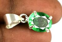 925 Sterling Silver Pendant 10.75 Ct Oval Muzo Emerald Natural Certified L2221