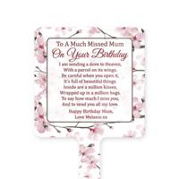 Personalised Happy Birthday Mum Memorial Card Ground Stake Grave Stone Pink
