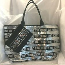 Victorias Secret Tote Bag Weekender Black Canvas Silver Sequins with Wristlet