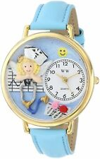 Whimsical Watches Nurse RN Blue Leather Strap Gold-Tone G0620030 Unisex NEW!!