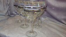 Large Blue Crystal Striped Wine Glasses Magnum style by Libbey 5 16oz  stems