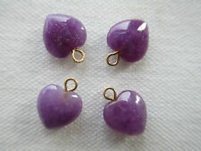4 Genuine Lavender Jade Heart Earrings Pendants  w/14kt. Gold Rings - Marked