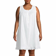 NWT ADONNA KNEE LENGTH 100% COTTON NIGHTGOWN WHITE DOTTED SWISS SIZE LARGE NWT!