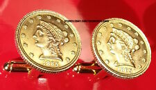 1865 U.S. Gold Liberty Head $2.5 Dollar Quarter Eagle Coin Cufflinks + Gift Box!
