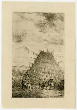 Antique Master Print-GENRE-RELIGION-TOWER OF BABEL-Ruyters-1842