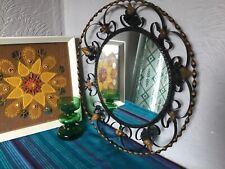Fabulous Mid Century Vintage Ornate Kitsch Black Metal Round Wall Mirror #5729