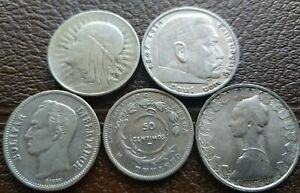 FOREIGN WORLD SILVER COIN Lot of 5 Larger Coins. Higher Grades. A Counter Stamp.