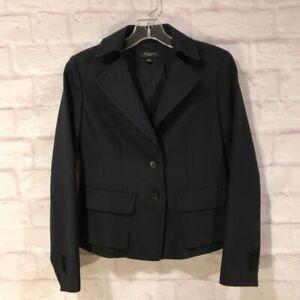Ann Taylor Women's Suit Jacket Blazer Navy Blue Lined Pockets Petites 2P