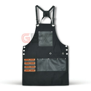 New Professional Black Leather Hairdressing Barber Apron Cape Barber Hairstylist