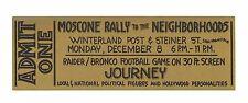 Journey Ticket 1975 Dec 8 Moscone Rally to the Neighborhood Winterland SF Unused
