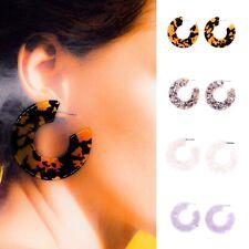 Acrylic Tortoise Shell Large Hoop Statement Stud Earrings New Fashion Design UK