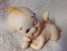 Vintage Bisque Baby Winking Kewpie Cupie Doll Blue Wings Kw 913 Excellent