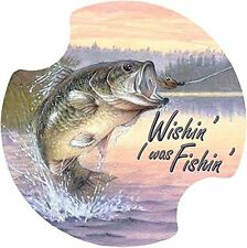 Thirstystone Angler's Dream Wishing' I was Fishing' Car Cup Holder Coaster, 2-Pa