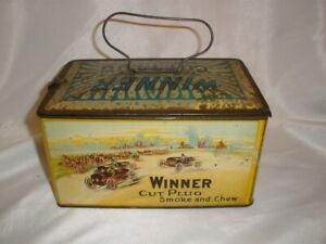 Vintage Winner Cut Plug Smoke Chew Tobacco Tin Litho Case Lunch Pail J Wright Co