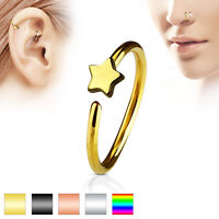1pc Bendable Steel Hoop Nose Cartilage Ring Star Rook Daith Helix Tragus
