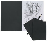 Pack of 3 Artist Sketch Book White Cartridge Paper Black Card Cover Pad A4 A5