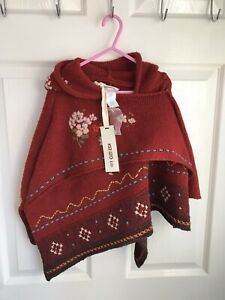 STUNNING GENUINE BRAND NEW TAGGED KENZO PONCHO MAILLE ROUGE LAQUE AGED 2 YEARS