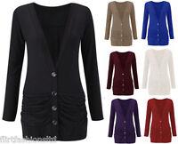 New Plus Size Ladies Button Up Cardigan Boyfriend Womens Drop Pocket Long Sleeve