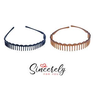 2 X Acrylic Plastic Hairband Grip Headband Teeth Spiky Black Tort Hair Scraper