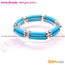 "Double Tube Stone Beads Tennis Fashion Jewelry Beaded Bracelet 7"" with Gift Box"