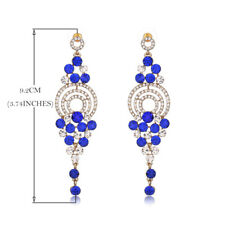 BLUE /CLEAR  crystal tear drop    bridal/ prom evening earring be   21