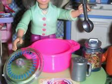 Barbie Kitchen Littles Pot Tri Pasta Grated Cheese fits Loving Family Dollhouse